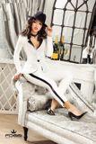 Dámske biele elegantné nohavice Foggi Elegant