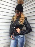Dámska čierna koženková zateplená bunda Foggi SUPER STARS