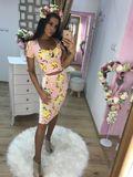Dámsky ružový sukňový komplet Foggi YELLOW FLOWERS