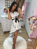 Dámske bielo-čierne bodkované šaty Foggi DOTS s volánmi