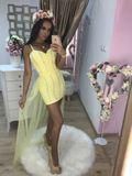 Dámske žlté spoločenské šaty Foggi YELLOW CRYSTAL