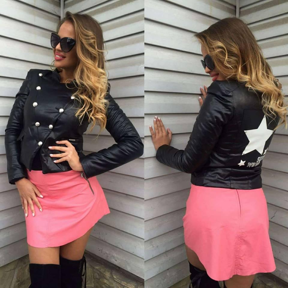 Dámska čierna koženková zateplená bunda Foggi SUPER STARS - M odporúčame pre S