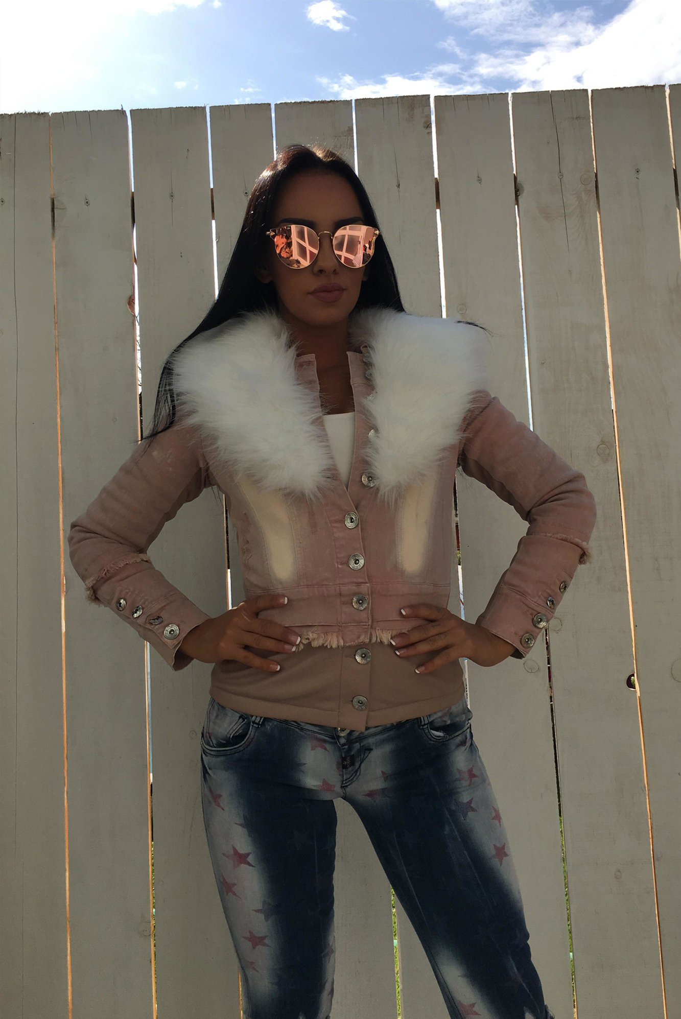 Dámska ružová riflová zateplená bunda Foggi s kožušinou - L odporúčame pre M
