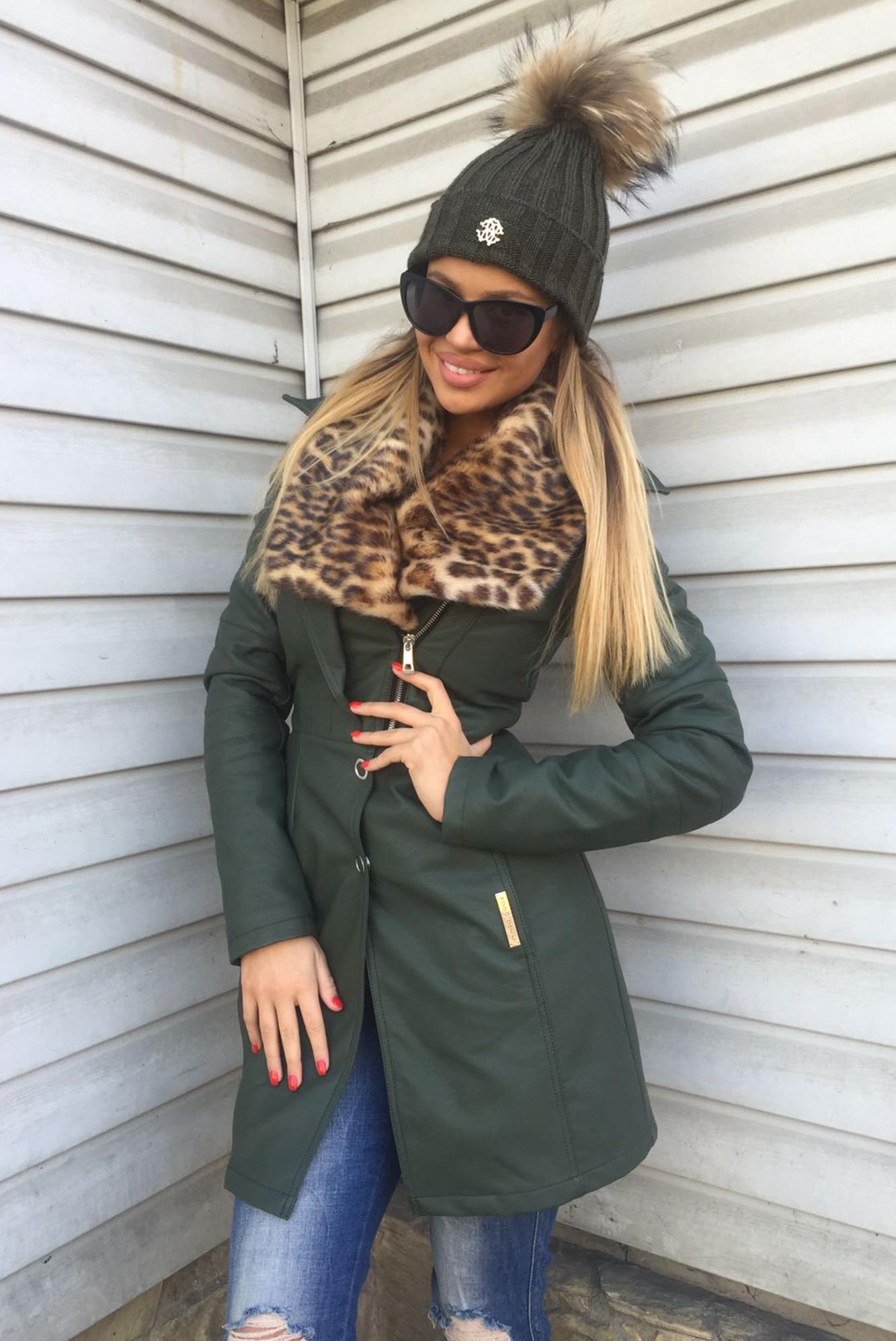 Dámska zelená zateplená koženková bunda Foggi s kožušinou - S odporúčame pre XS