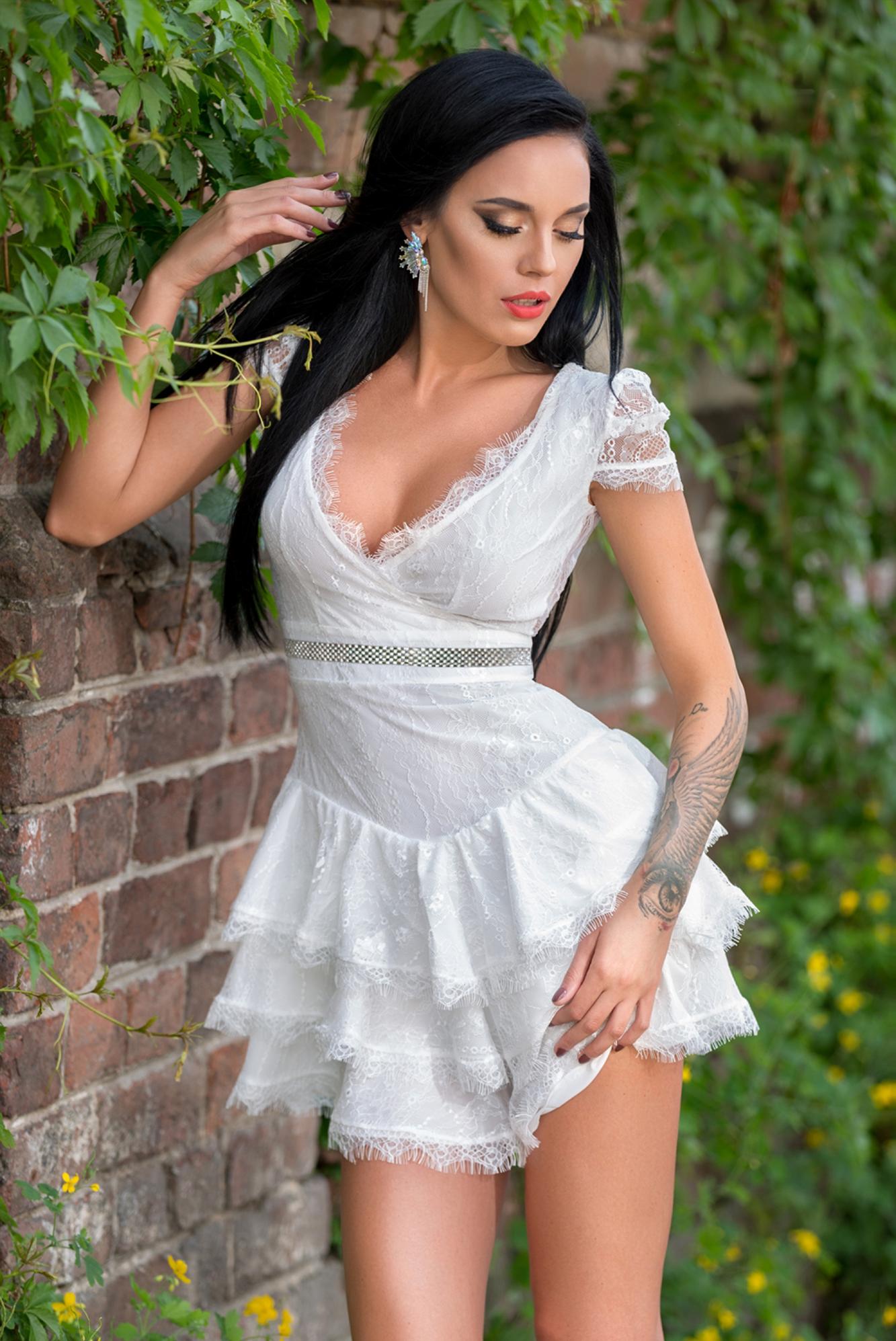 Dámske biele čipkované šaty Foggi ROMANTIC - S odporúčame pre XS