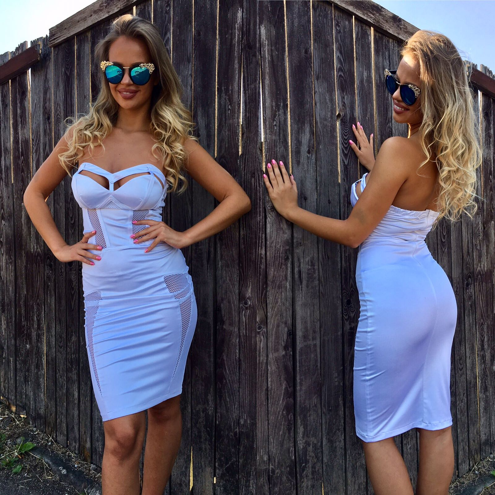 Dámske biele šaty OCASSION WHITE LOVE - XS