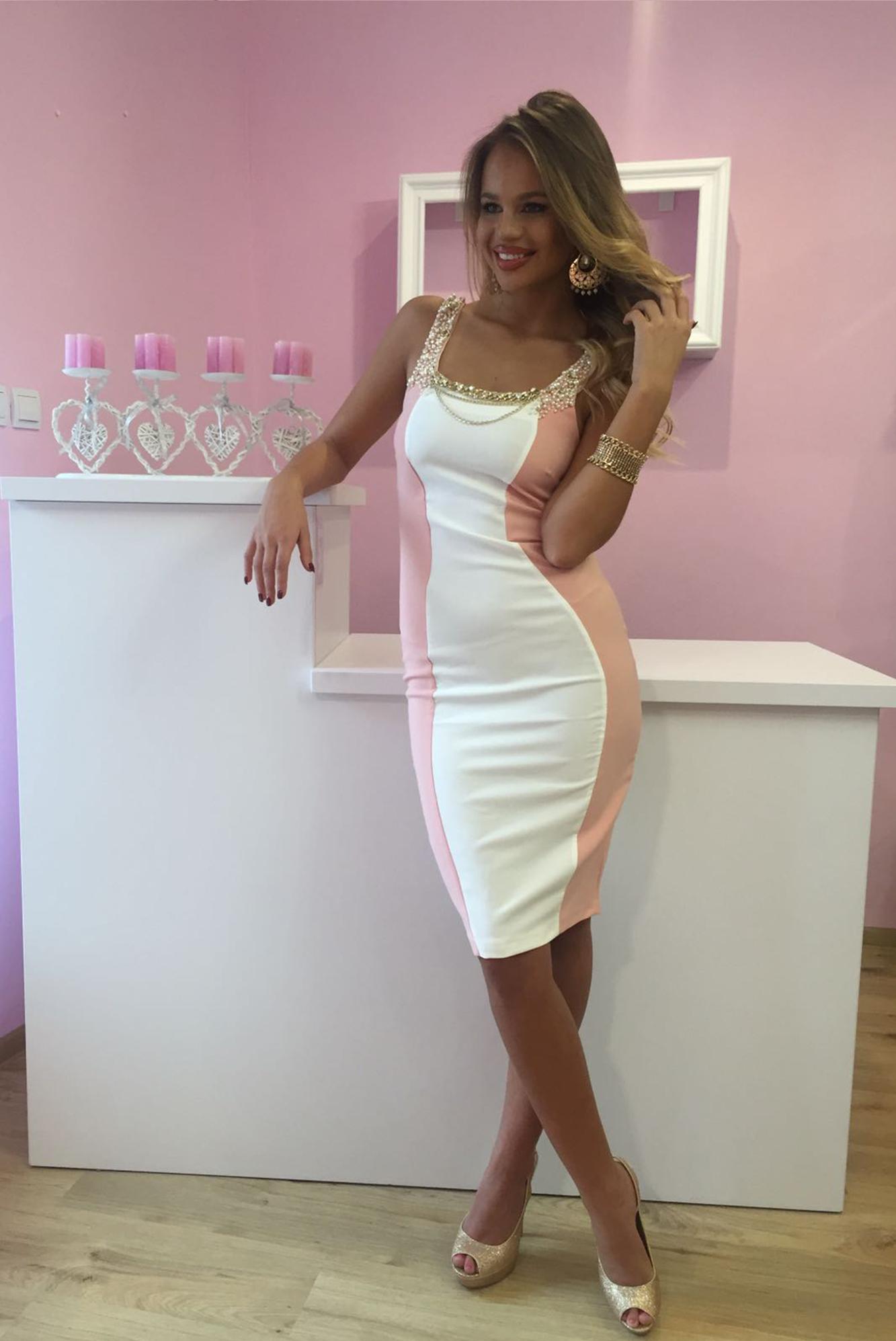 c7cf96cab0b7 Dámske bielo ružové šaty NI s kryštálmi - 36 odporúčame pre XS