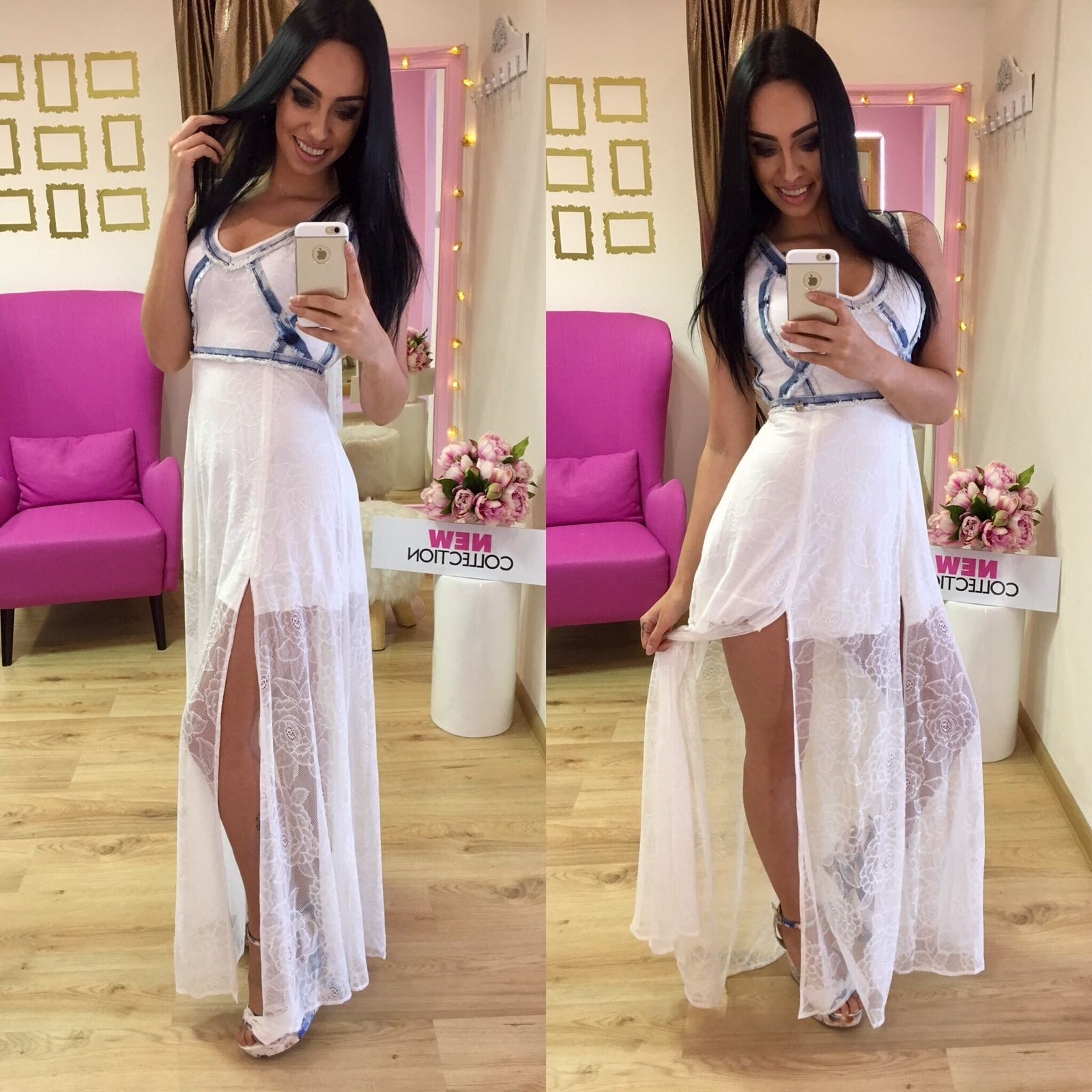 Dámske dlhé biele čipkované šaty Foggi - S