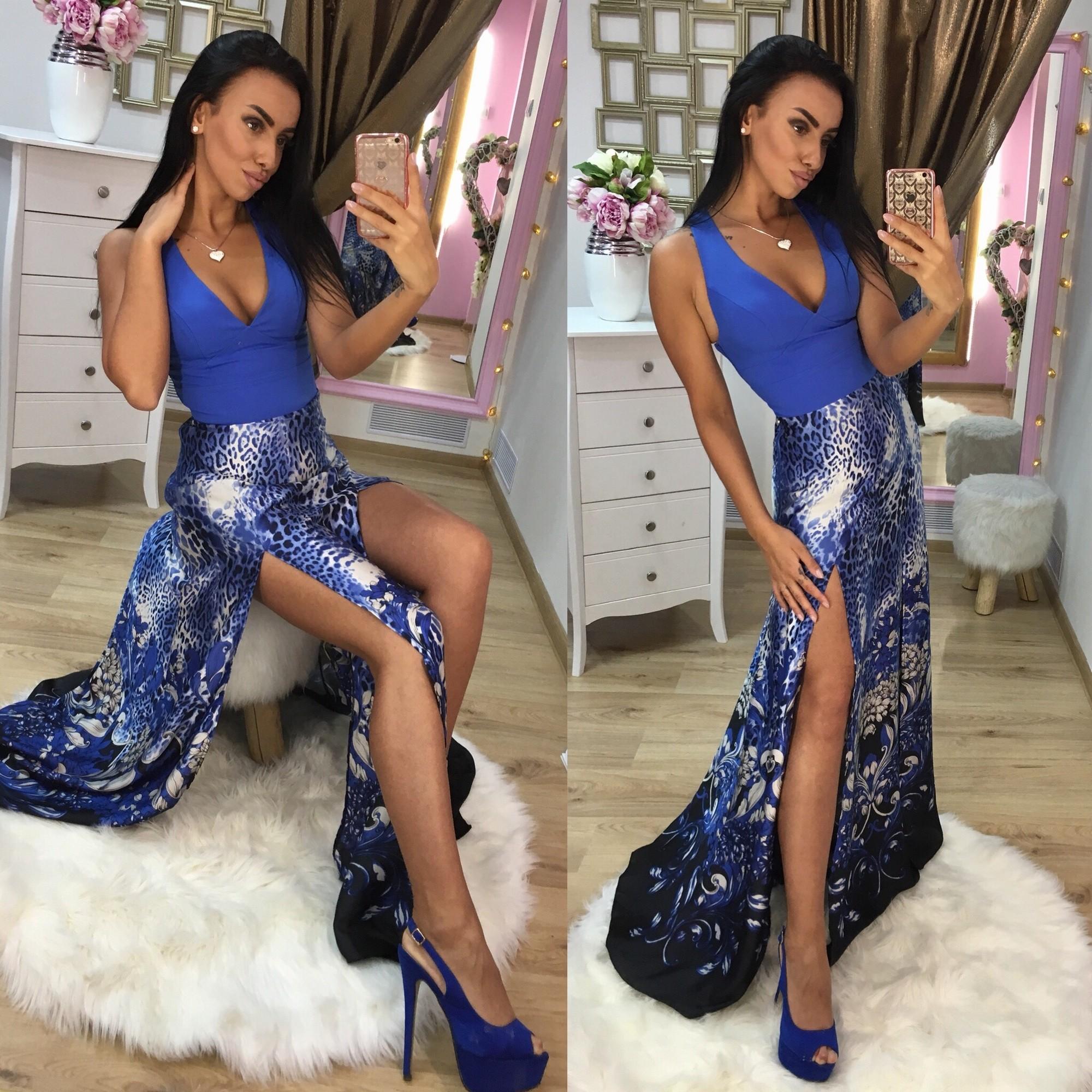 Dámske dlhé šaty Foggi BLUE LEOPARD - L