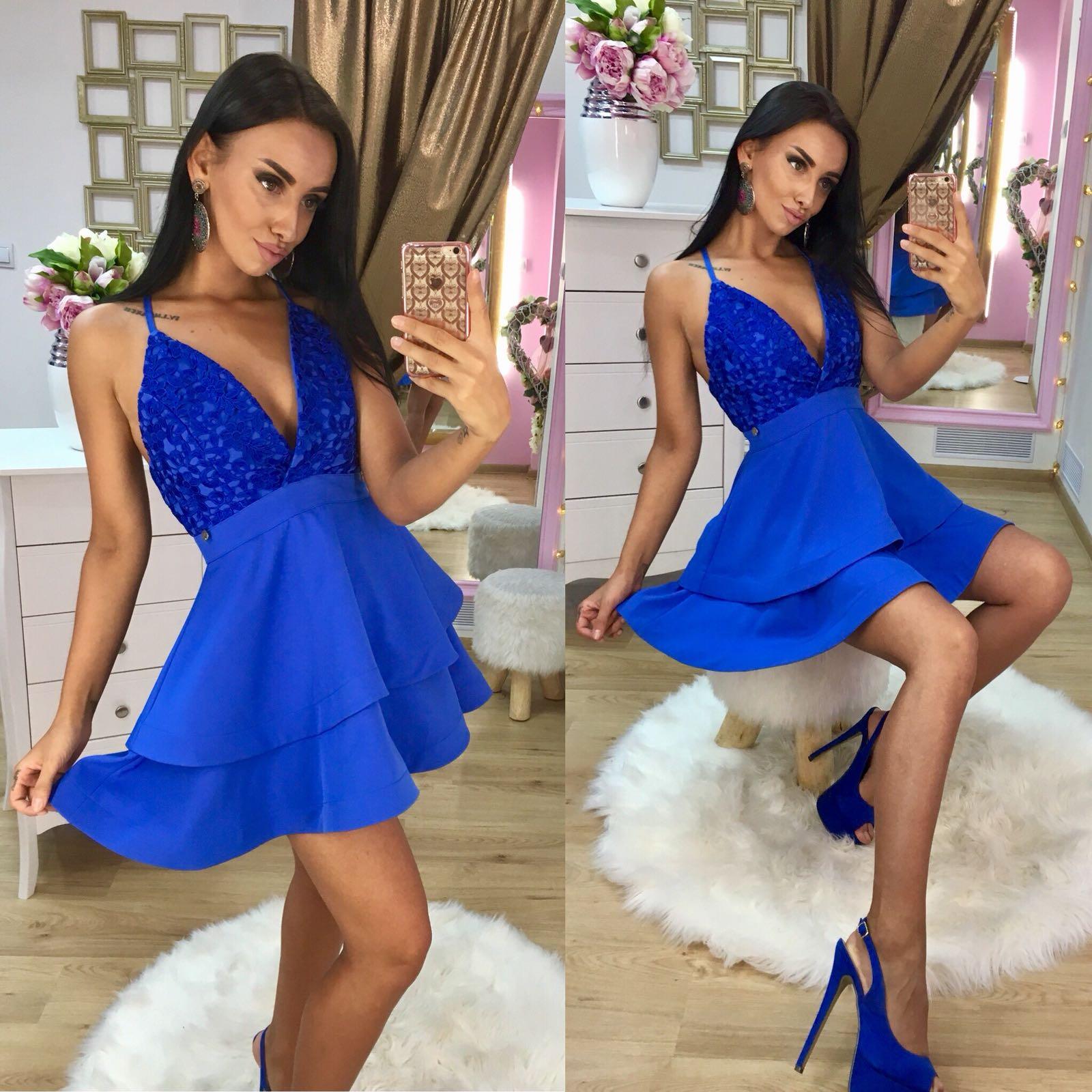 Dámske královské modré šaty Foggi BLUE - L odporúčame pre M
