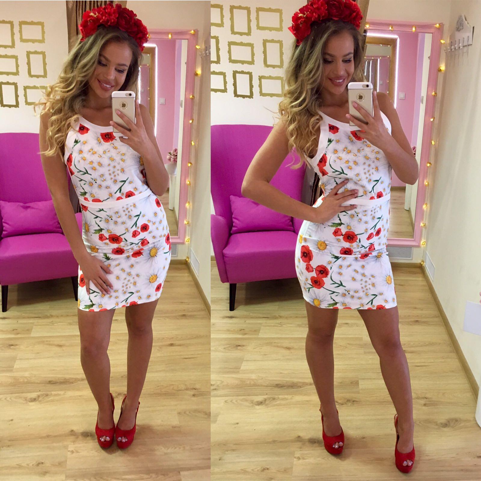 Dámske letné biele šaty NI RED POPPY - 42 odporúčame pre L