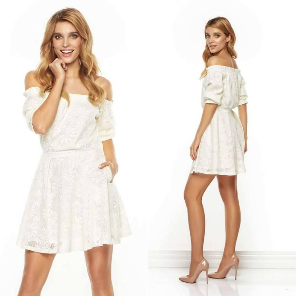 Dámske maslové čipkované šaty LISA - M