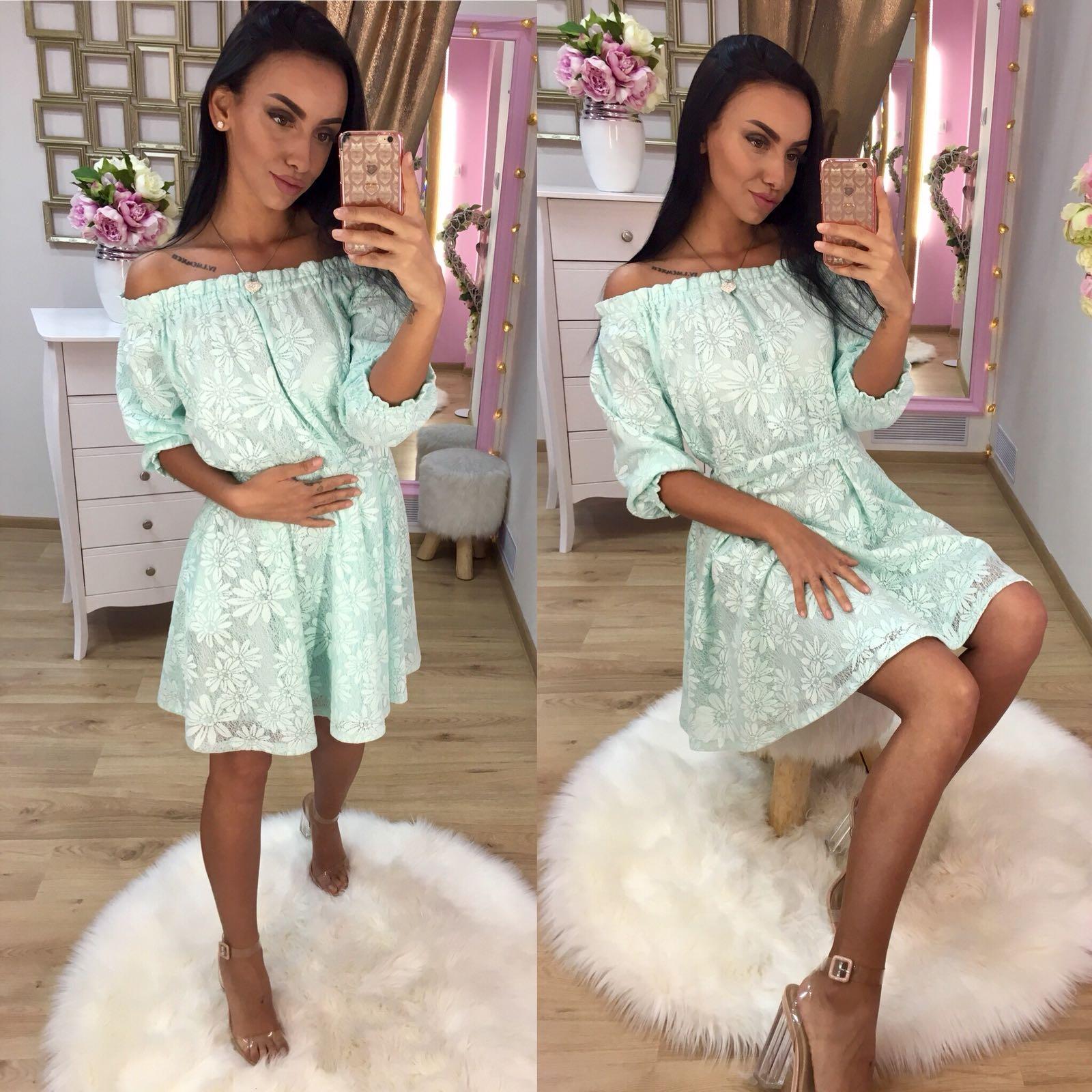 Dámske modré čipkované šaty LISA - M