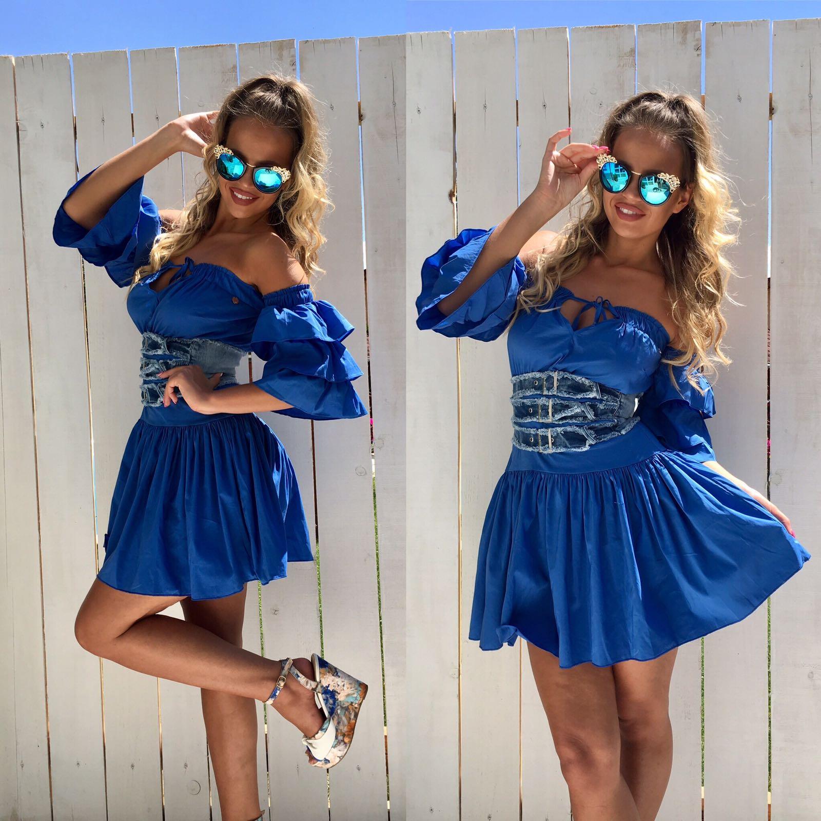 Dámske modré šaty Foggi s volánmi - S odporúčame pre XS
