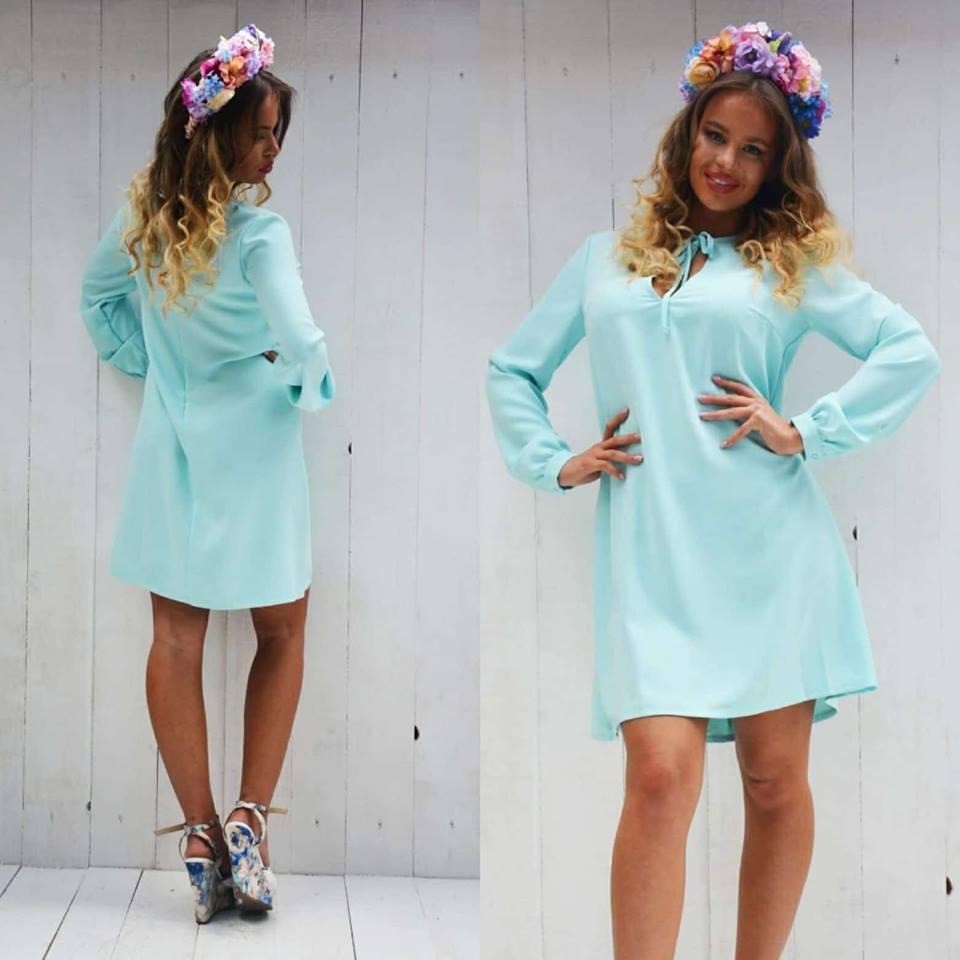 Dámske modré šaty voľného strihu LUXURY - M