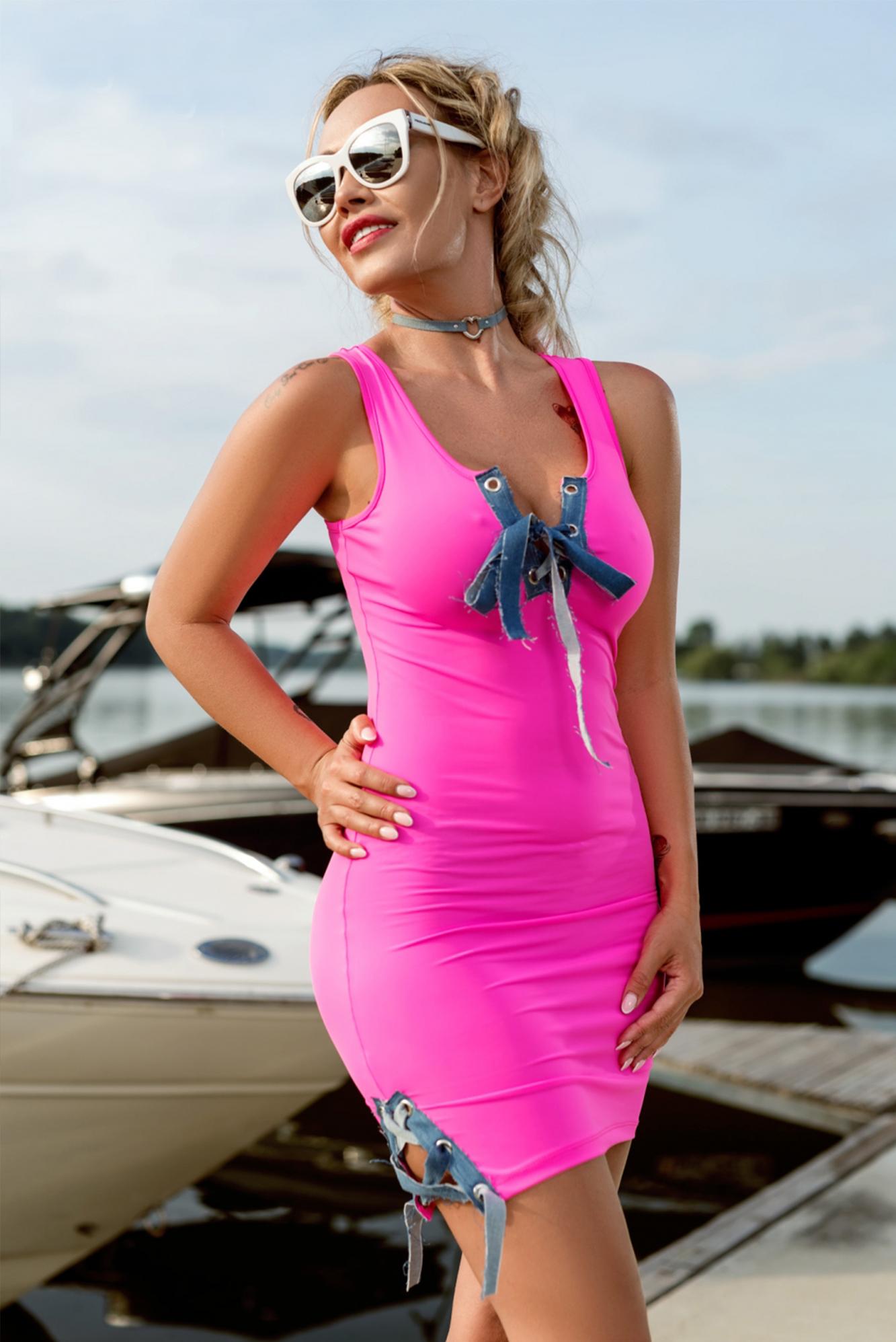 7779b5a888d7 Dámske neónovo ružové šaty Foggi PINK KISS - S odporúčame pre XS