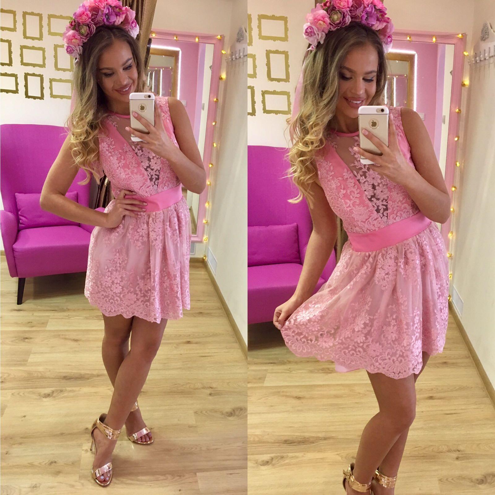 Dámske ružové čipkované šaty Foggi Jeans Pink - M odporúčame pre S