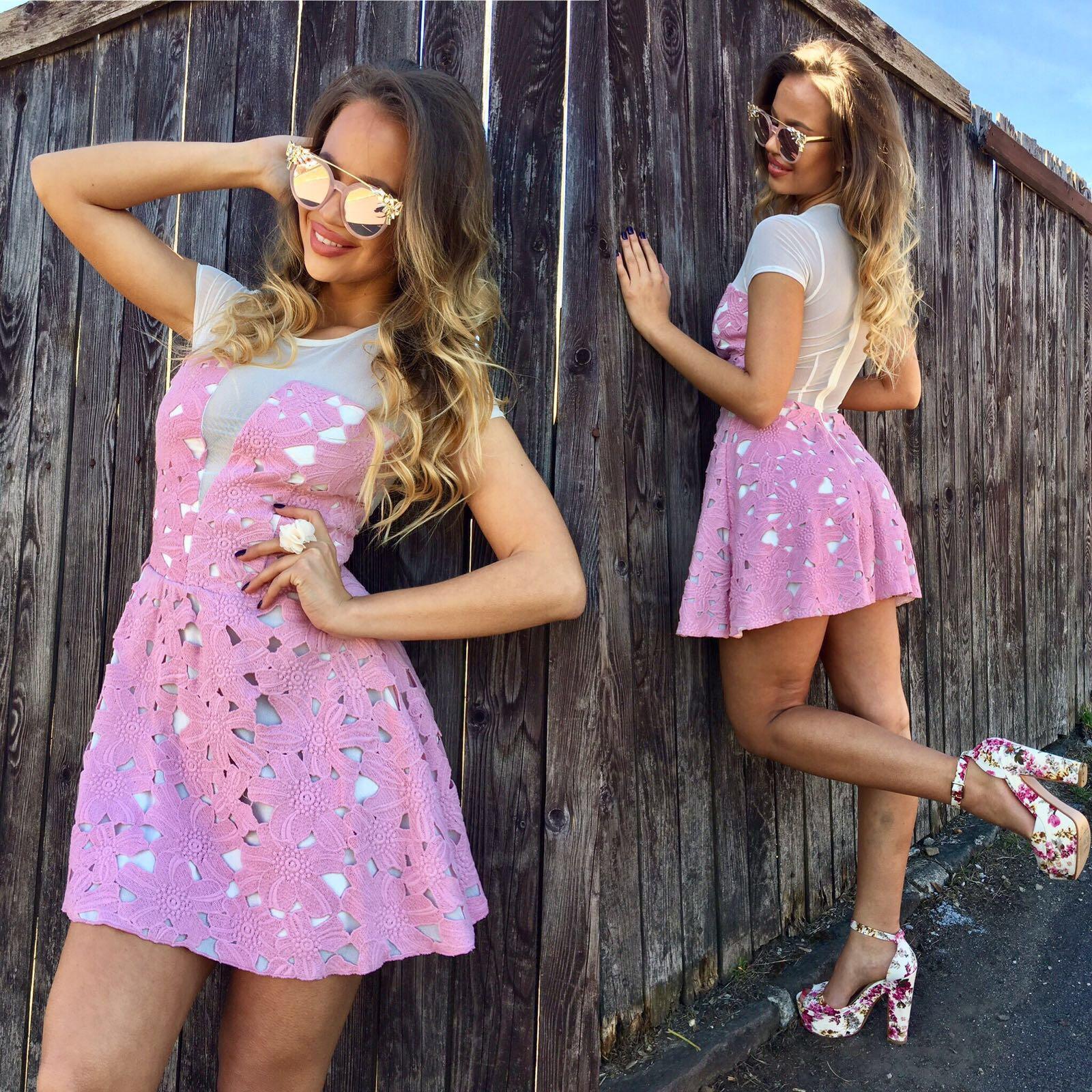 Dámske ružové čipkované šaty Foggi PINK - L odporúčame pre M