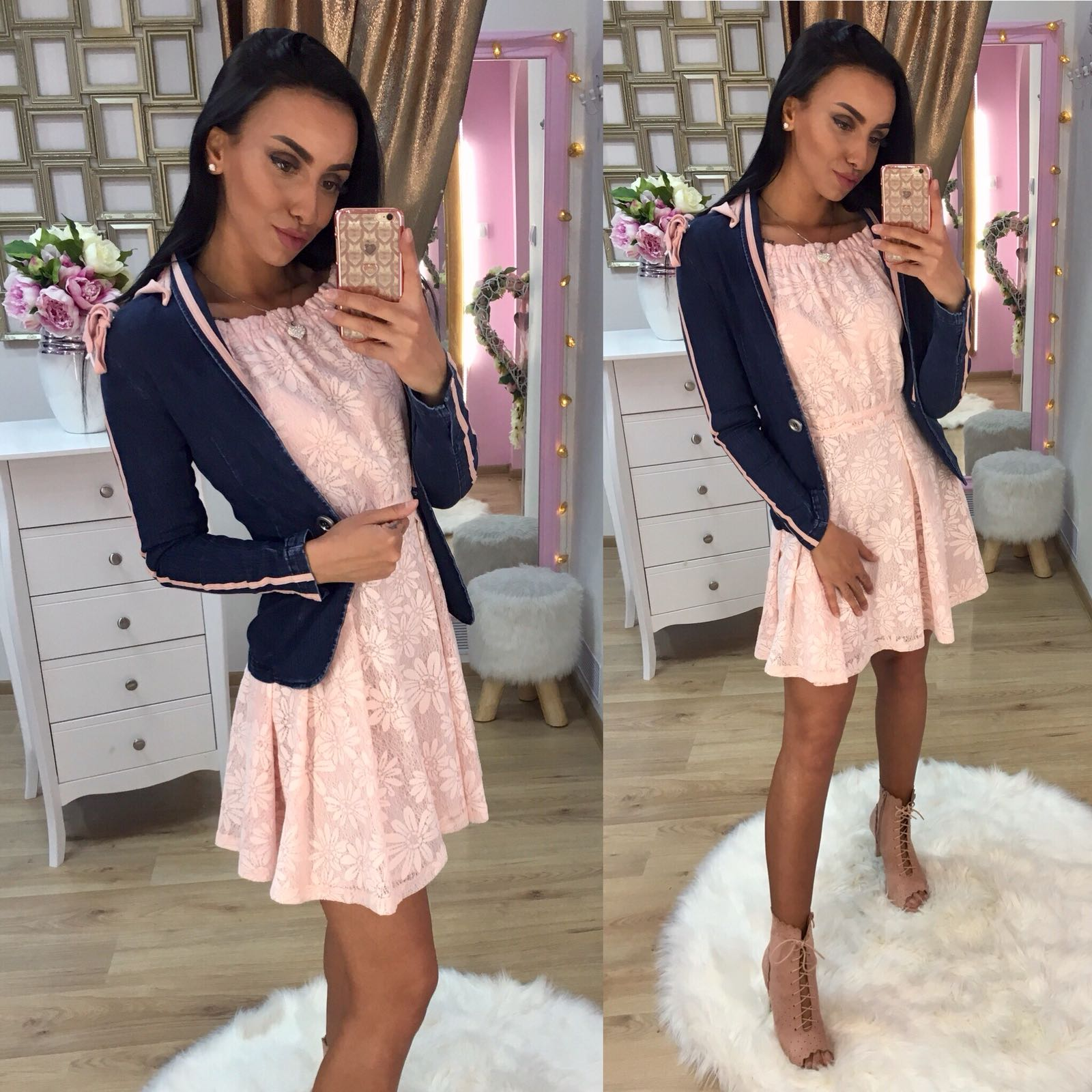 Dámske ružové čipkované šaty LISA - S