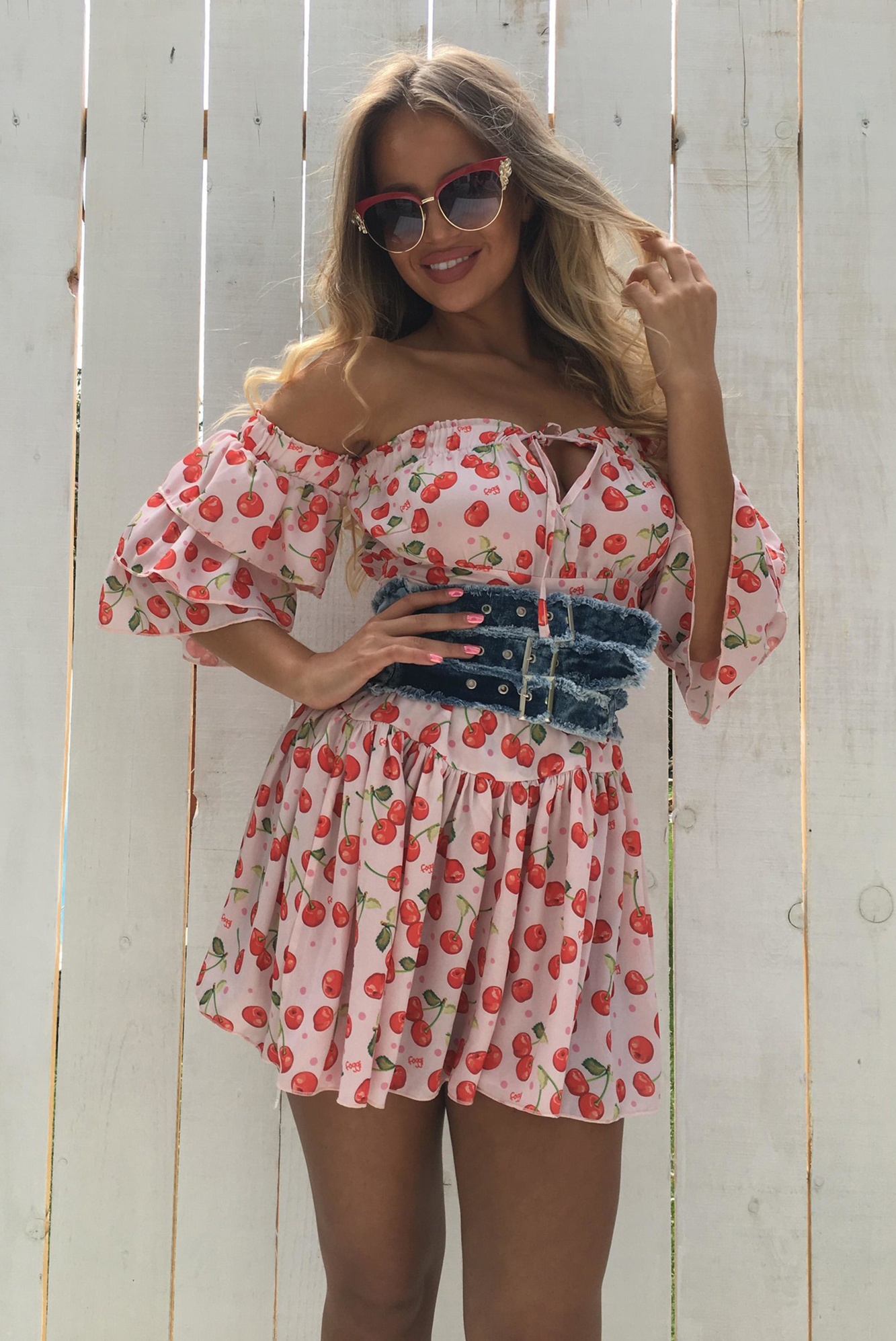 860eafc9c953 Dámske ružové letné šaty Foggi CHERRIES - S odporúčame pre XS