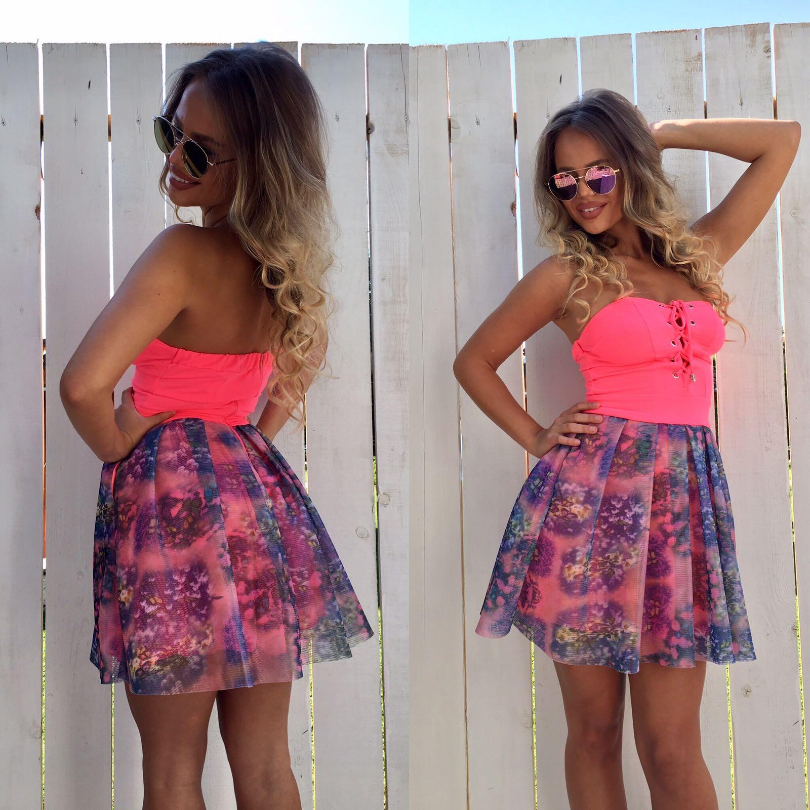 Dámske ružové šaty Foggi s nariasenou sukňou - S odporúčame pre XS