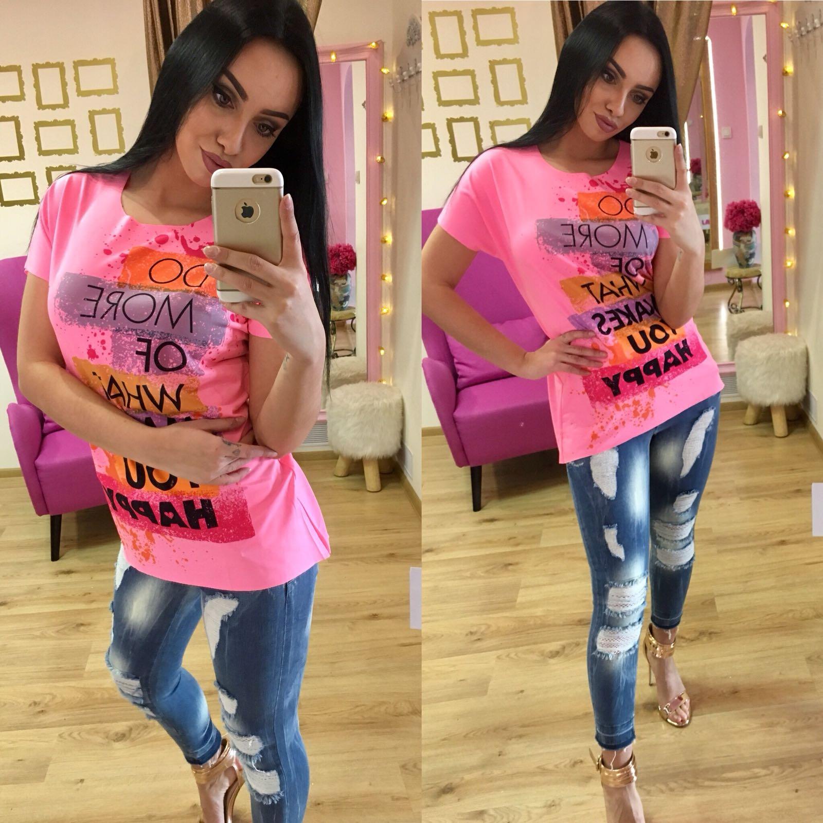 Dámske ružové tričko RAW HAPPY - L