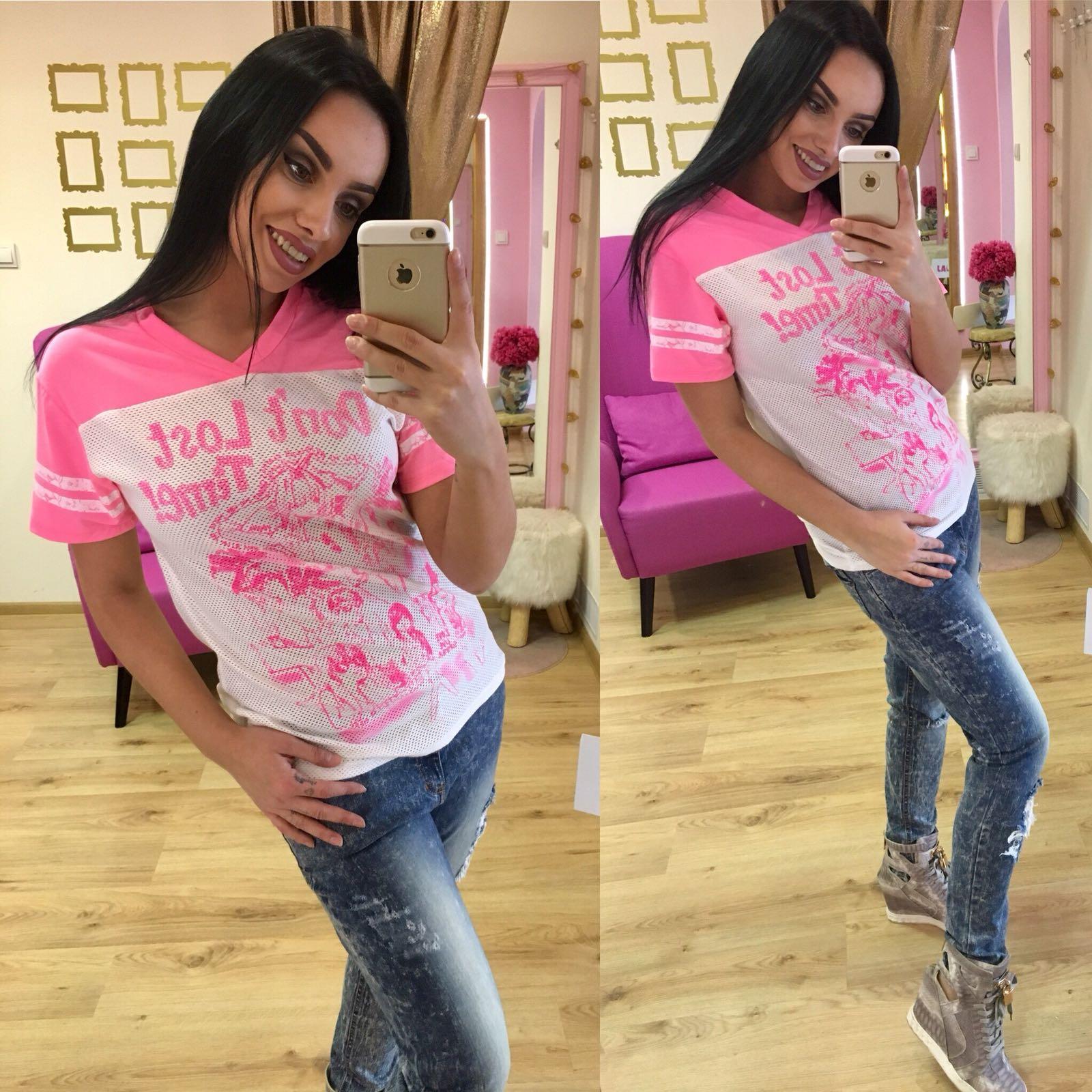 96165ef31778 Dámske ružovo biele tričko RAW TIME - S