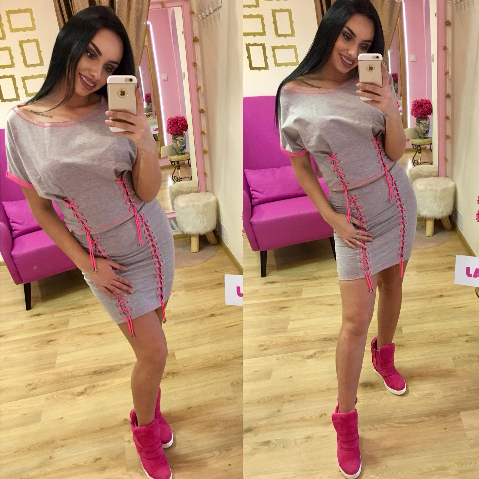 Dámske šedý sukňový komplet NI PINK - S