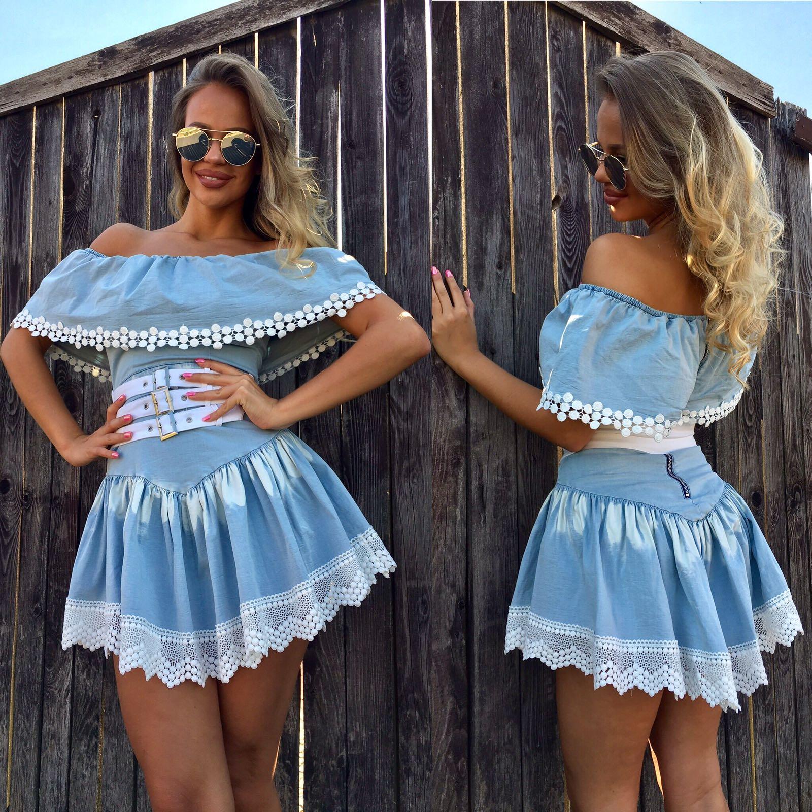 Dámske svetlé riflové šaty Foggi s krajkou - S odporúčame pre XS