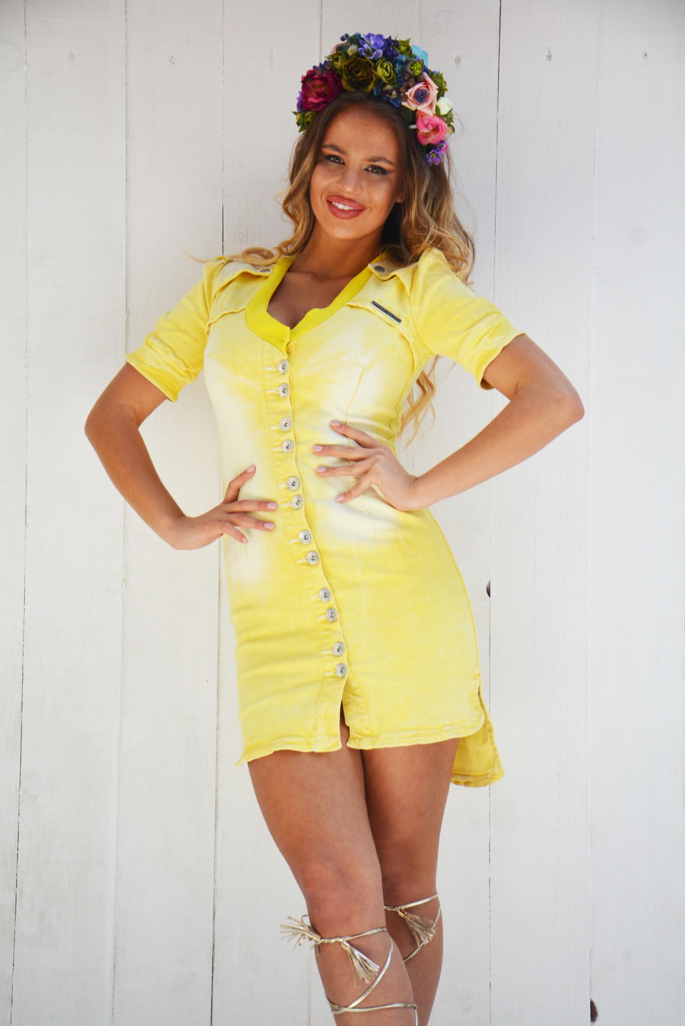 Dámske žlté riflové šaty Foggi STARS - L