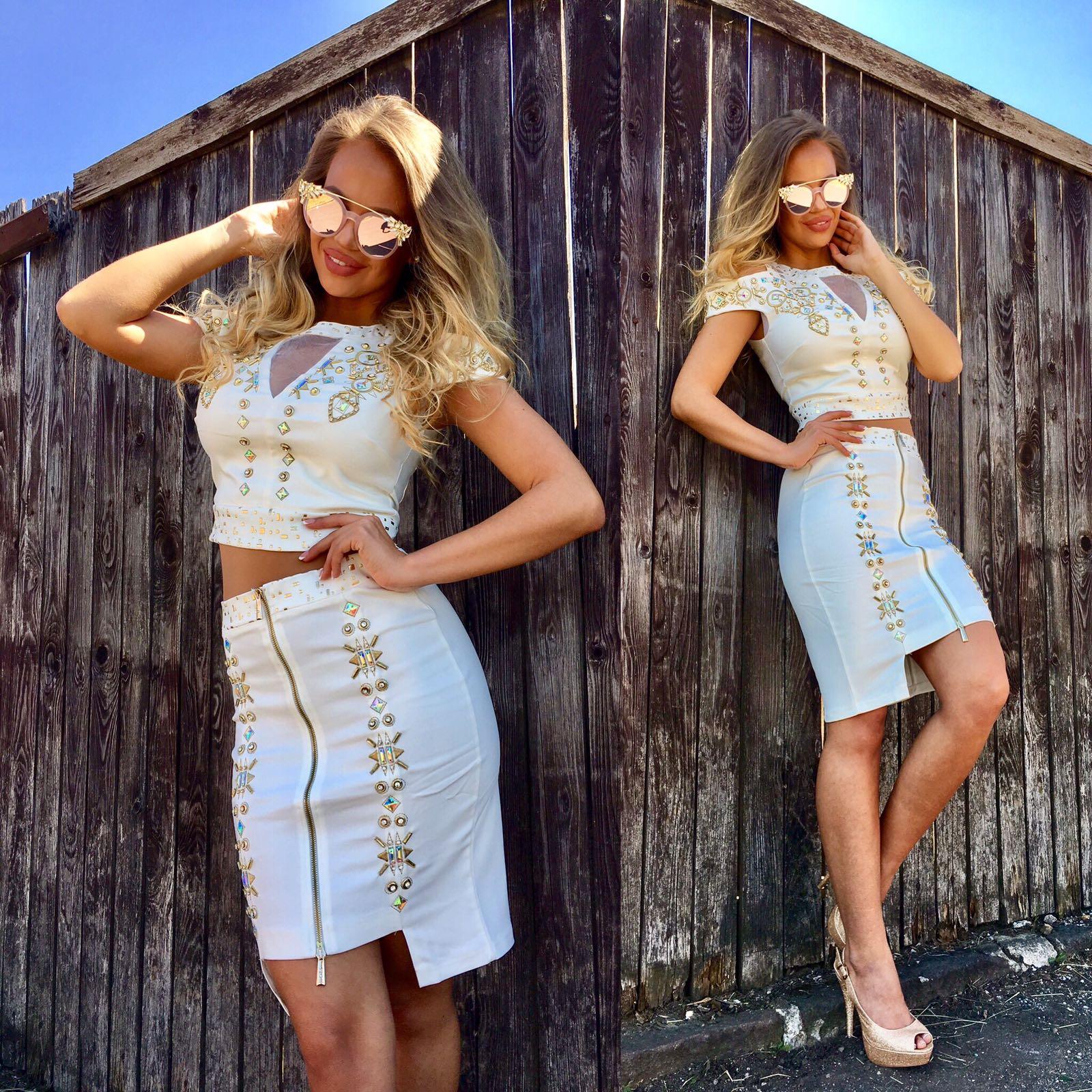 Dámsky biely sukňový komplet NI GOLD s kryštálmi - 38 odporúčame pre M