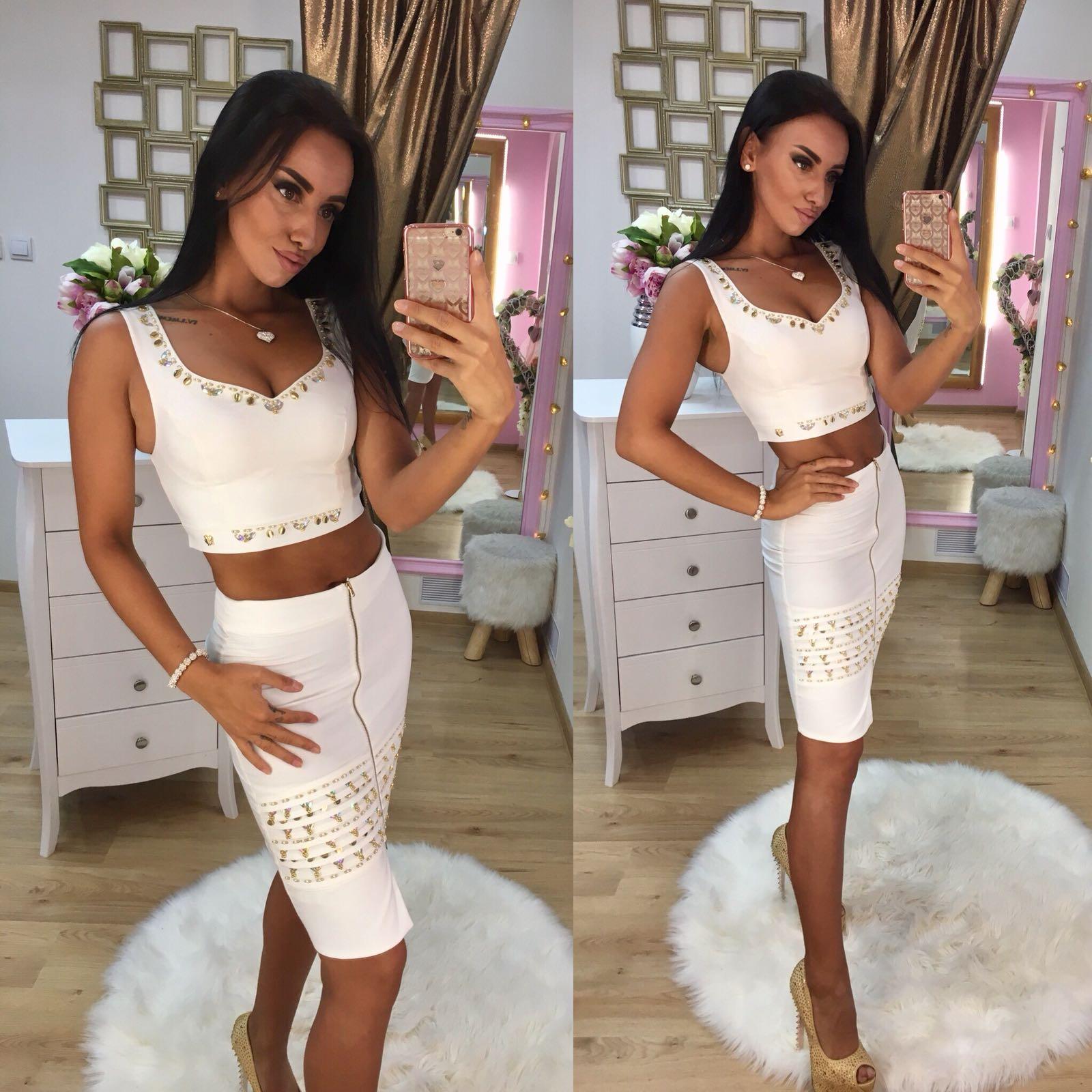 Dámsky biely sukňový komplet NI s kryštálmi - 36 odporúčame pre S