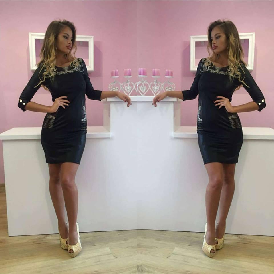 d4636ea77c77 Luxusné dámske čierne šaty v imitácii kože s kryštálmi - 36 odporúčame pre  XS