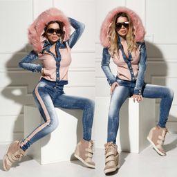 Dámska riflová bunda Foggi PINK GIRL s kožušinou