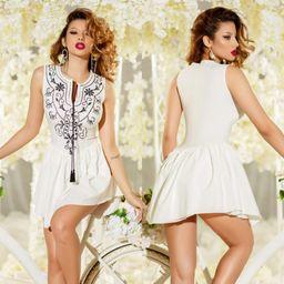 Dámske biele šaty Foggi FOLK s výšivkou