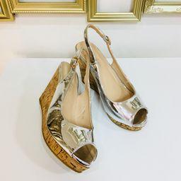 Dámske strieborné sandále na platforme SILVER