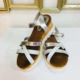 Dámske strieborné sandále na platforme SUN