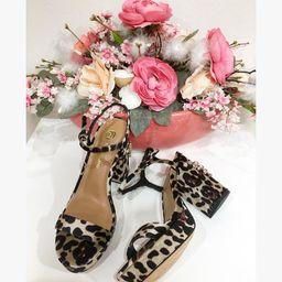 Dámske zamatové leopardie sandále na platforme RIVER ISLAND