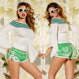 Dámske zelené riflové šortky Foggi JEANS SUMMER