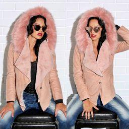 Dámsky krátky zateplený ružový kabát Foggi SWEET s kožušinou