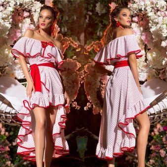 Dámske bielo-červené bodkované šaty Foggi DOTS s volánmi