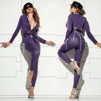 Dámske fialové slim nohavice Foggi STYLE