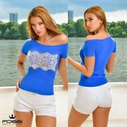 Dámske modré tričko Foggi LACE