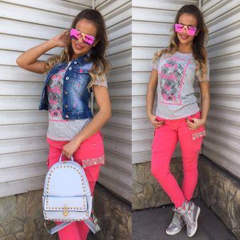 Dámske ružové kapsáče s perličkami