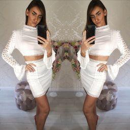 Dámsky biely sukňový komplet Lace