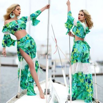 Dámsky zeleno-modrý sukňový komplet Foggi PARADISE